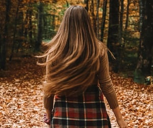autumn, girl, and plaid image