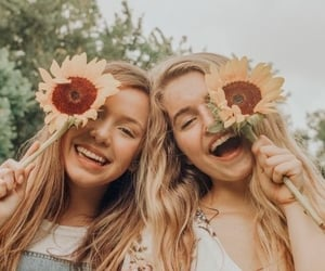 besties, sunflower, and bff image