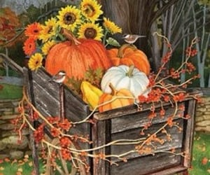 fall, Halloween, and sunflowers image