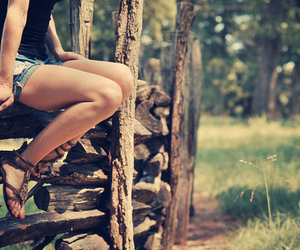 girl, shoes, and nature image