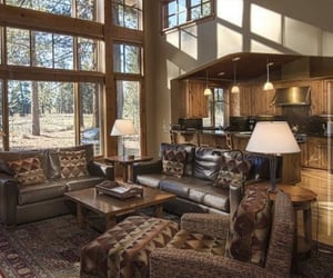 house, cabin, and decor image