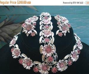 etsy, flower bracelet, and rhinestone necklace image