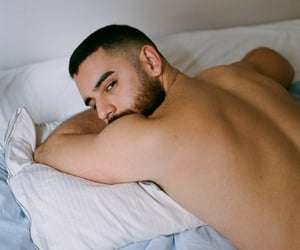 back, shirtless, and bed image