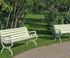 green, aesthetic, and bench image