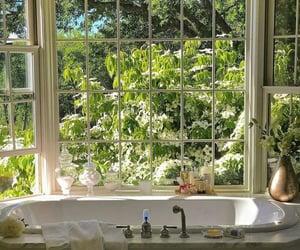 bathroom, bathtub, and flowers image