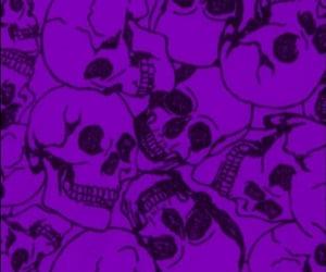 purple, skulls, and wallpaper image