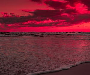 sunset, beach, and clouds image