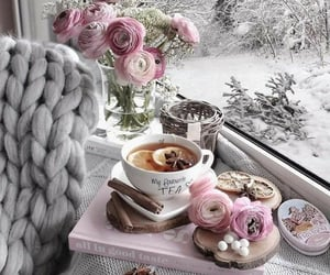winter, tea, and flowers image