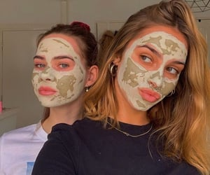carefree, face mask, and girls image