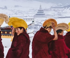 monks, snow, and tibet image