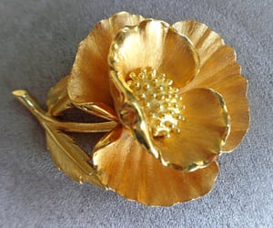 1950's, flower brooch, and floral design image
