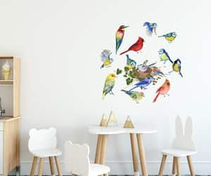 peacock wallpaper, birds feeder, and birds wall decal image