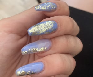 blue, blue nails, and gold image
