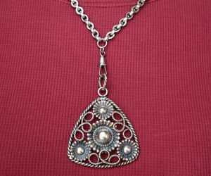 Watch Chain Assemblage Necklace with Large Silver Tone Pendant image 0