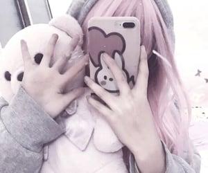 aesthetic, girl, and teddybear image