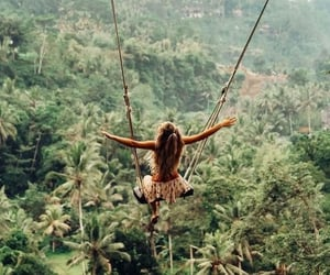 travel, girl, and swing image