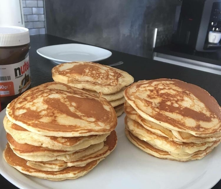 food, nutella, and pancakes image