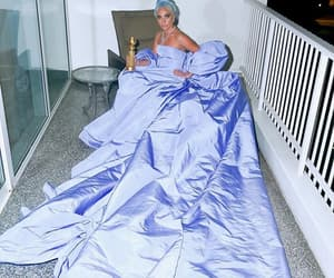 blue hair, dress, and golden globes image