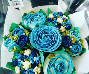 blue, cupcakes, and flowers image