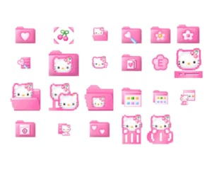 cyber, hello kitty, and pink image