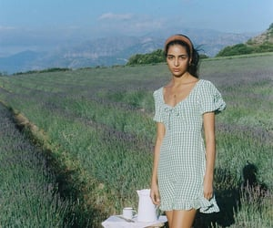 field, girl, and mountains image