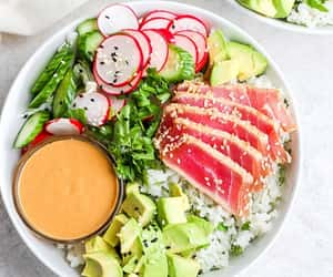 bowl, healthy, and lunch image