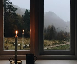candle, coffee, and window image