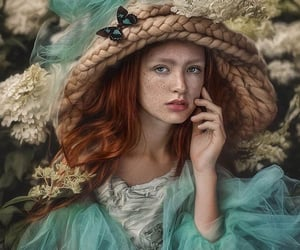 butterfly, red hair, and floral image