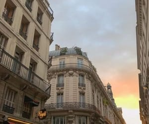 city, paris, and sunset image