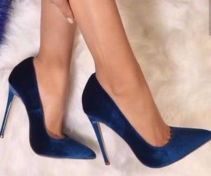 blue heels, fashion, and footwear image