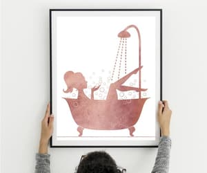 bathroom decor, personalized gift, and black watercolor image