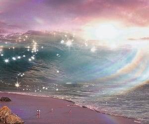 aesthetic, beach, and rainbow image