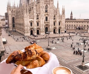 coffee, architecture, and croissant image