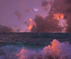 moon, ocean, and sky image