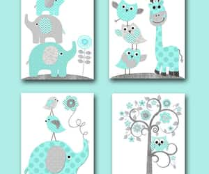 canvas print, kids art, and gray blue image