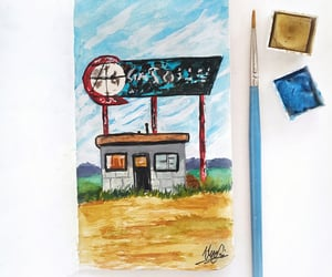 art, drawing, and gas station image