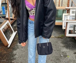 everyday look, straight leg jeans, and beige crop top image