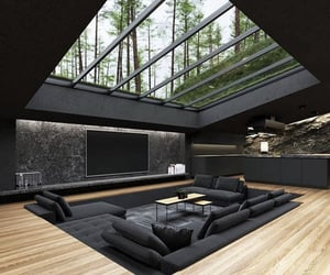 interior, living room, and black image