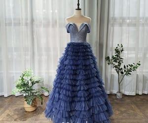 girl, long dress, and glitter tulle image