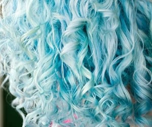 blue hair, curls, and cotton candy hair image