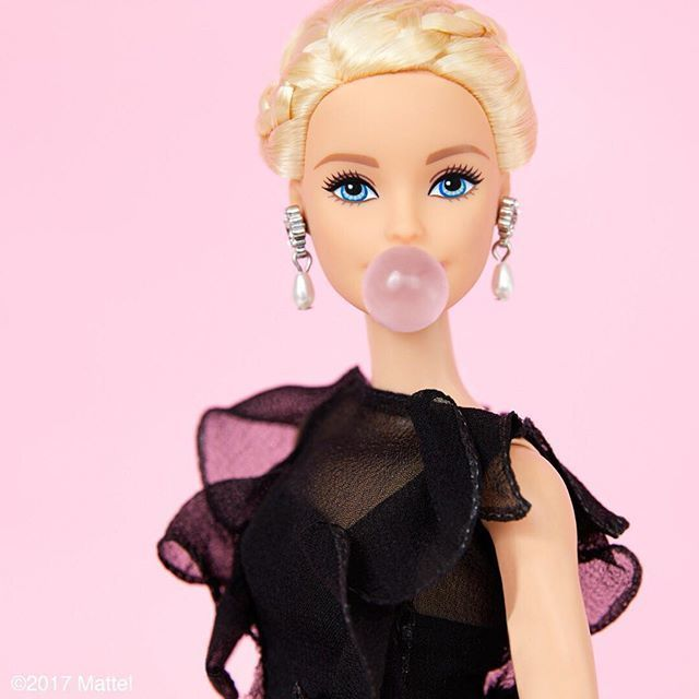 barbie, black, and red lips image
