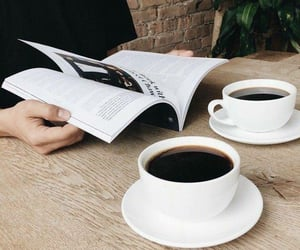 coffee, magazine, and book image