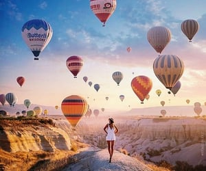 adventure, balloons, and nature image