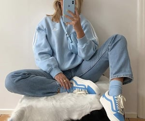 blue, outfit, and ootd image