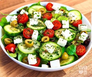 cheese, salad, and tomatoes image