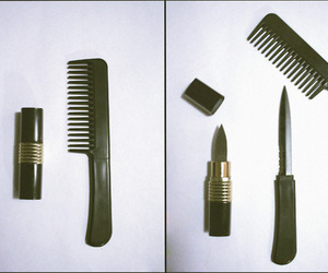 knife, lipstick, and comb image