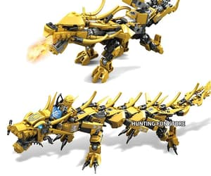 toy, golden dragon, and building blocks image
