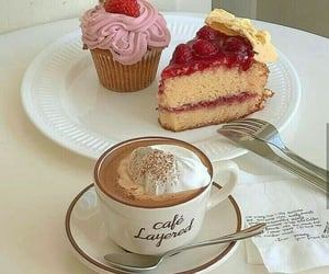 food, cake, and coffee image