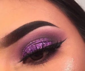 eyebrows, purple, and makeup image