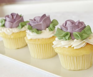 cake, muffins, and wedding cake image